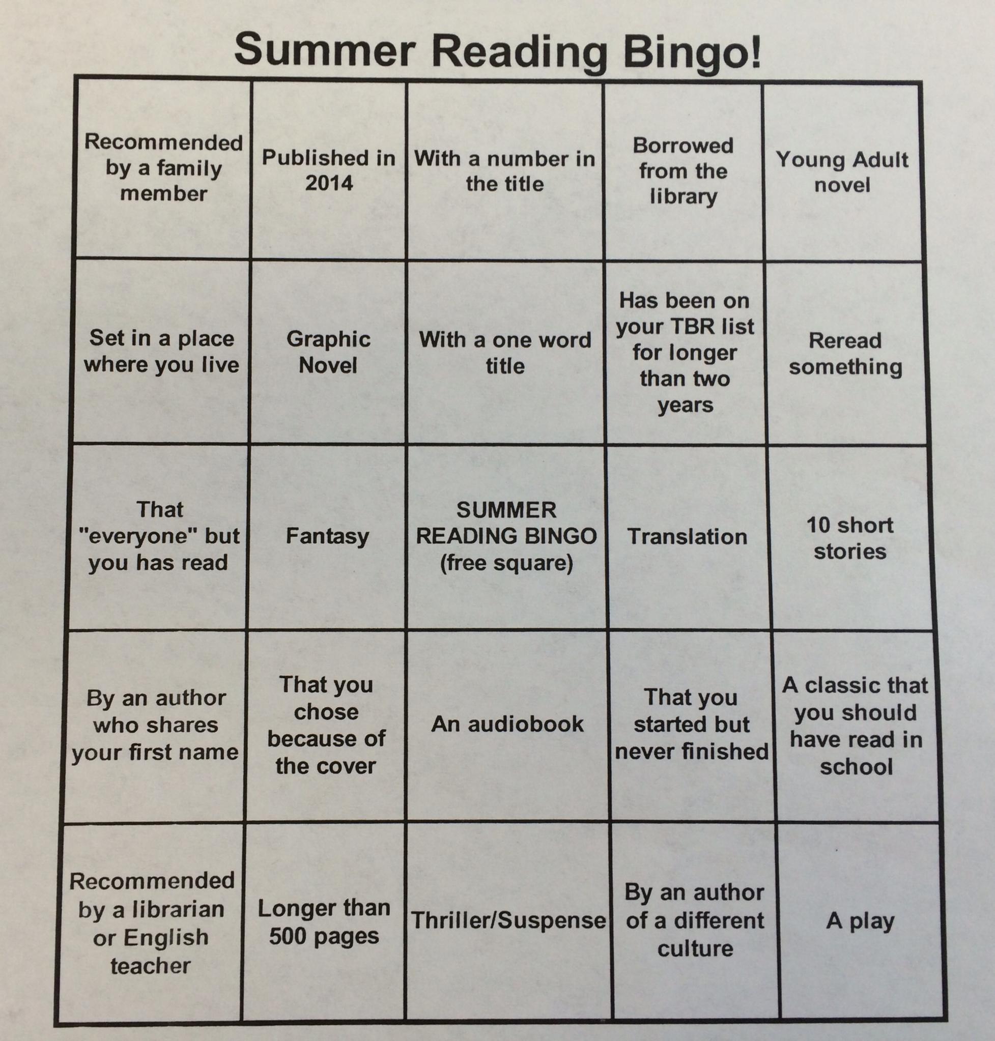 Bingo Card 1 | River Hill High School